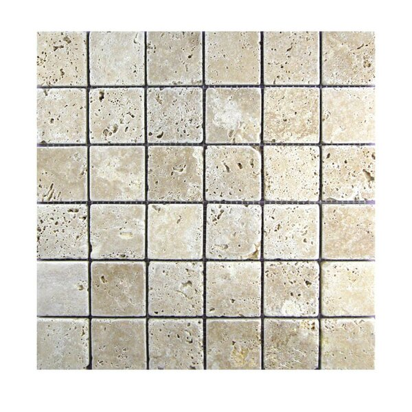 Tumbled 2 x 2 Natural Stone Mosaic Tile in Walnut by QDI Surfaces