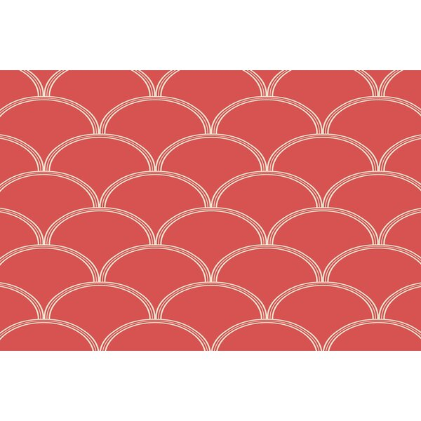 Brendan Circles Coral/White Area Rug by Wrought Studio