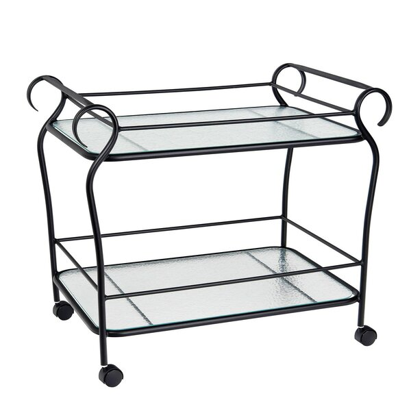 Aluminum Occasional Ramsgate Bar Cart with Obscure Glass by Woodard