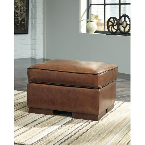 Haines Leather Ottoman by 17 Stories