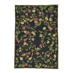 Savings One-of-a-Kind Glenville Modern Botanical Oriental Hand-Knotted Black Area Rug ByCharlton Home