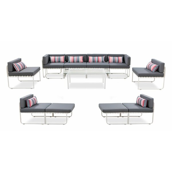 Silsden Outdoor 11 Piece Sectional Seating Group with Cushions by Freeport Park