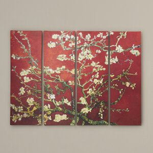 'Interpretation Almond Blossom' by Vincent Van Gogh 4 Piece Painting Print on Wrapped Canvas Set by World Menagerie
