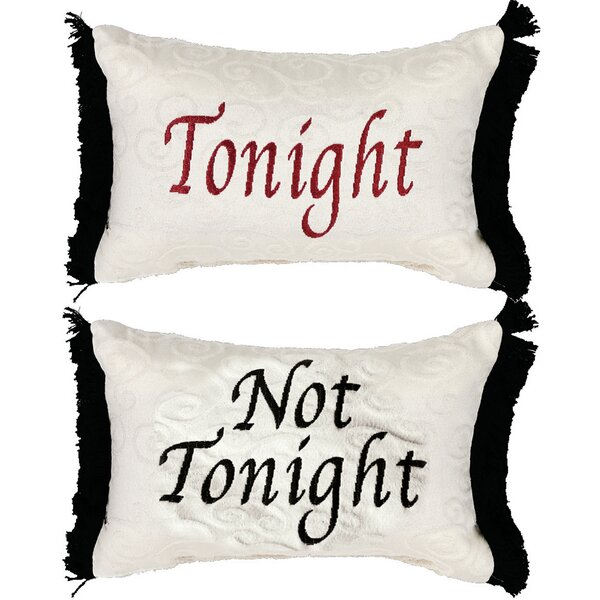 Tonight/Not Tonight Word Lumbar Pillow (Set of 2) by Manual Woodworkers & Weavers