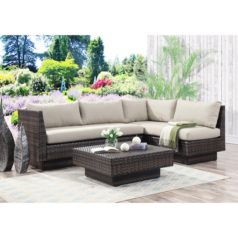 Mulford Outdoor 3 Piece Rattan Sectional Set with Cushions