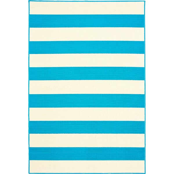 Deverick Stripe Blue/White Indoor/Outdoor Area Rug by Ebern Designs