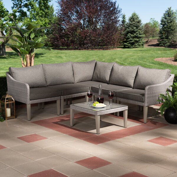 Congers 6 Piece Rattan Complete Patio Set with Cushions