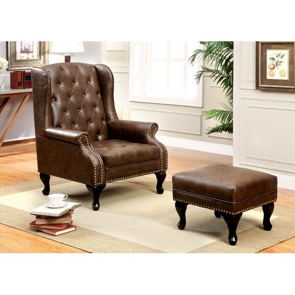 Halvorson Wingback Chair and Ottoman by Fleur De Lis Living Fleur De Lis Living