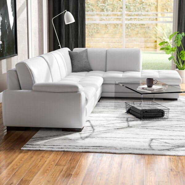 Norwich Leather Sectional by Orren Ellis