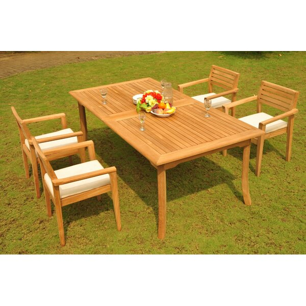 Ronaldo 5 Piece Teak Dining Set by Rosecliff Heights