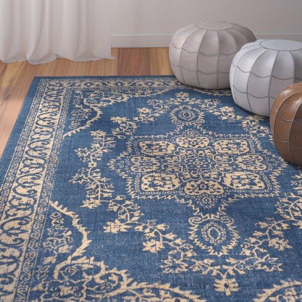 Randhir Floral Blue/Tan Area Rug by Bungalow Rose