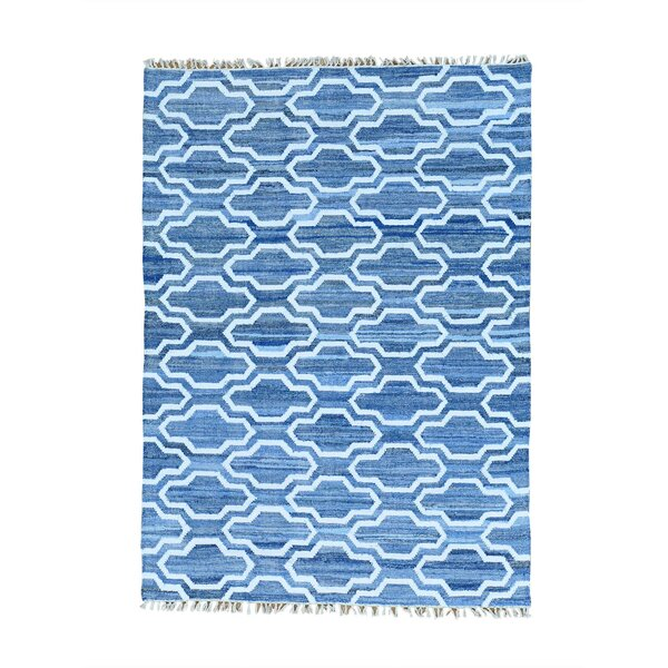 One-Of-A-Kind Flat Weave Kilim Hand-Knotted Denim Blue/ivory Area Rug By Bungalow Rose.