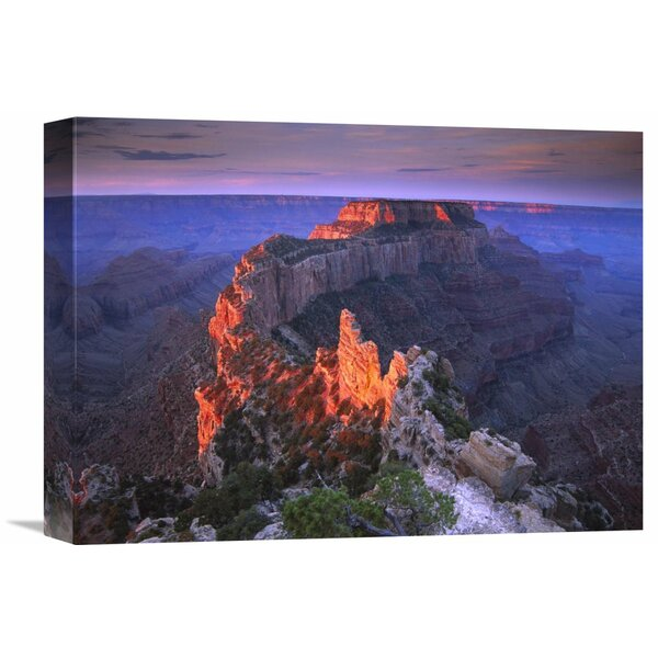 Nature Photographs Wotans Throne at Sunrise from Cape Royal, Grand Canyon National Park, Arizona Photographic Print on Wrapped Canvas by Global Gallery