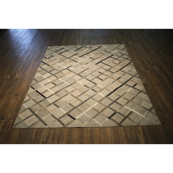 Knopf Hand-Woven Cowhide Brown/Beige Area Rug by Everly Quinn