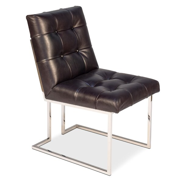 Manolya Tufted Leather Upholstered Side Chair in Black by Latitude Run Latitude Run