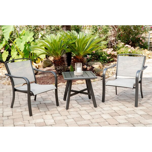 Wrenn 3-Piece Commercial-Grade Patio Seating Set with 2 Sling Lounge Chairs and a 22 inch  Square Slat-Top Side Table by Charlton Home