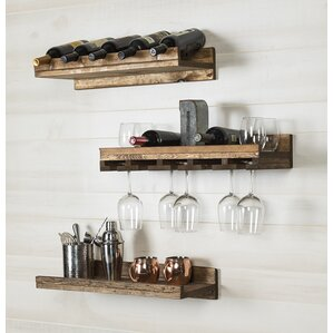 Dunlap 5 Bottle Wall Mounted 3 Piece Wine Bottle Rack by Union Rustic