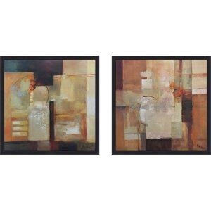 'Sienna Abstract I' 2 Piece Framed Print Set on Glass by Latitude Run