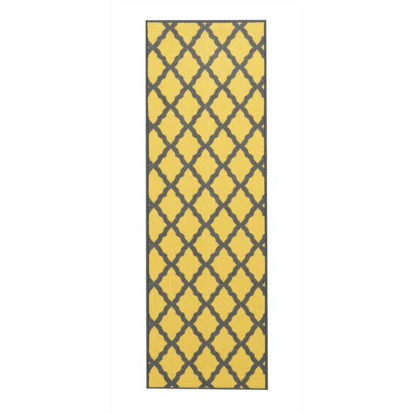 Vathylakas Moroccan Trellis Yellow/Brown Area Rug by Beachcrest Home