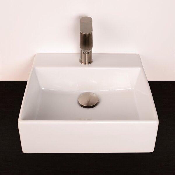 Aquamedia White Square Wall Mount Bathroom Sink