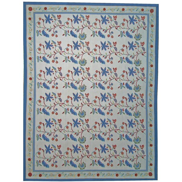 One-of-a-Kind Aubusson Hand Woven Wool Ivory/Navy Area Rug by Pasargad