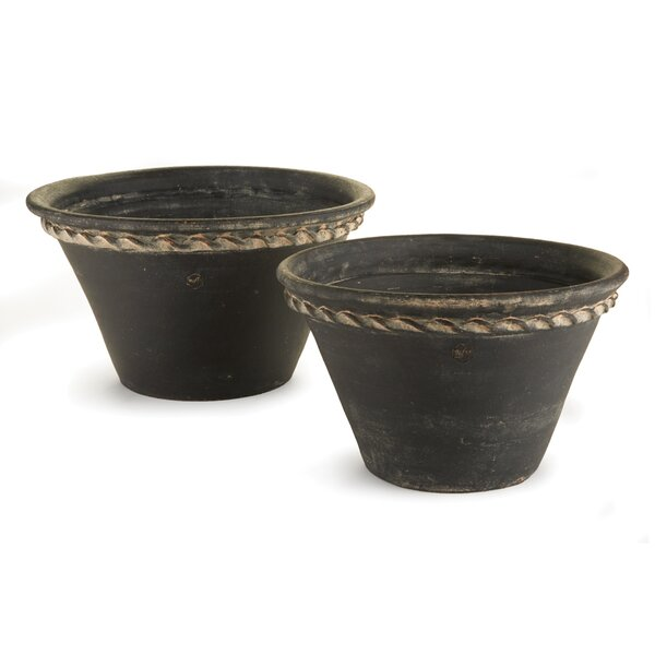 Amd Pastry Pan 2-Piece Clay Pot Planter Set by One Allium Way