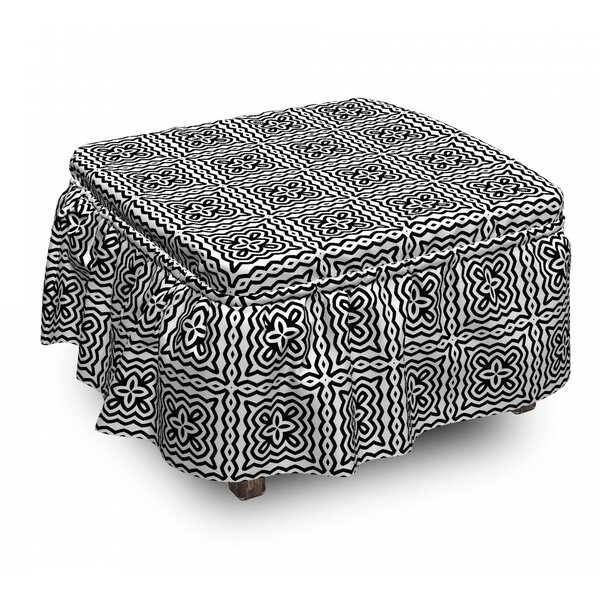 Motifs In Squares Ottoman Slipcover (Set Of 2) By East Urban Home