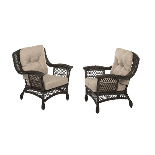 Rubenstein Garden Patio Chair with Cushions (Set of 2) by August Grove