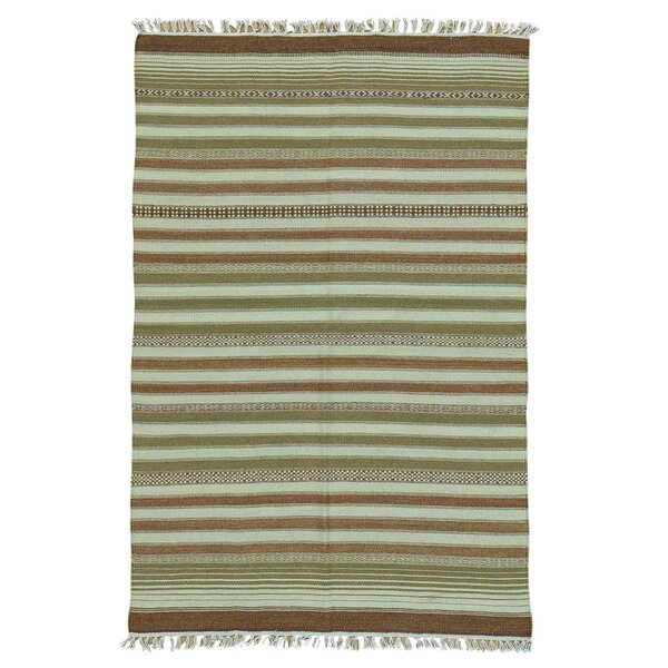 Reversible Flat Weave Durie Kilim Hand-Knotted Brown/Olive Area Rug by Bloomsbury Market