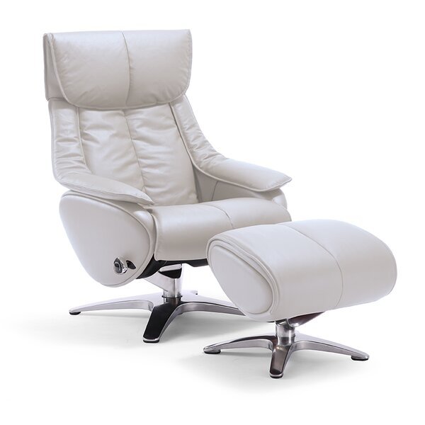 Taisha Leather Swivel Recliner with Ottoman by Latitude Run