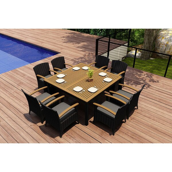 Holbrook 9 Piece Teak Dining Set with Sunbrella Cushions by Rosecliff Heights Rosecliff Heights