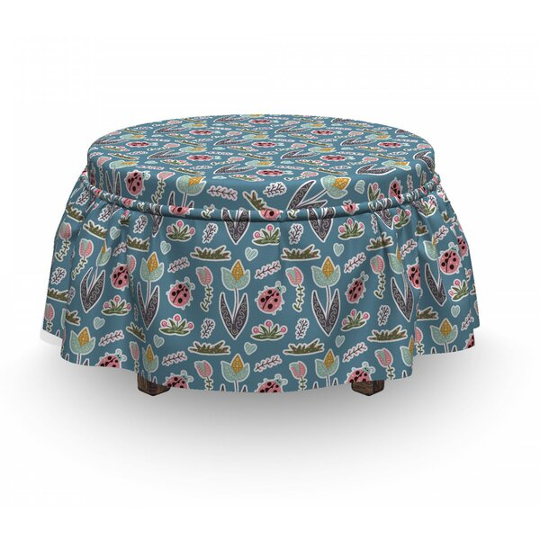Doodle Forest Flowers Ottoman Slipcover (Set Of 2) By East Urban Home