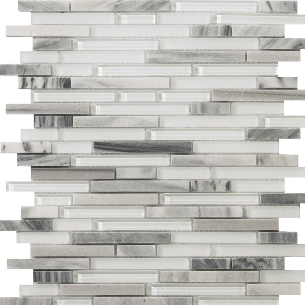 Lucente 12 x 13 Glass Stone Blend Linear Mosaic Tile in Grazia by Emser Tile