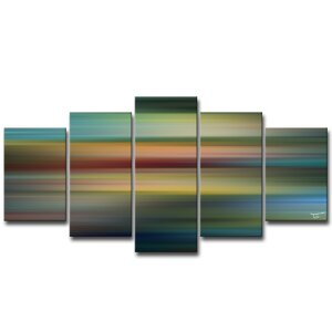'Blur Stripes LVII' by Tristan Scott 5 Piece Graphic Art on Wrapped Canvas Set by Ready2hangart