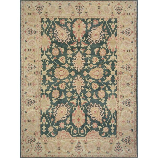 One-of-a-Kind Agra Geunine Hand-Knotted Wool Green/Beige Indoor Area Rug by Mansour