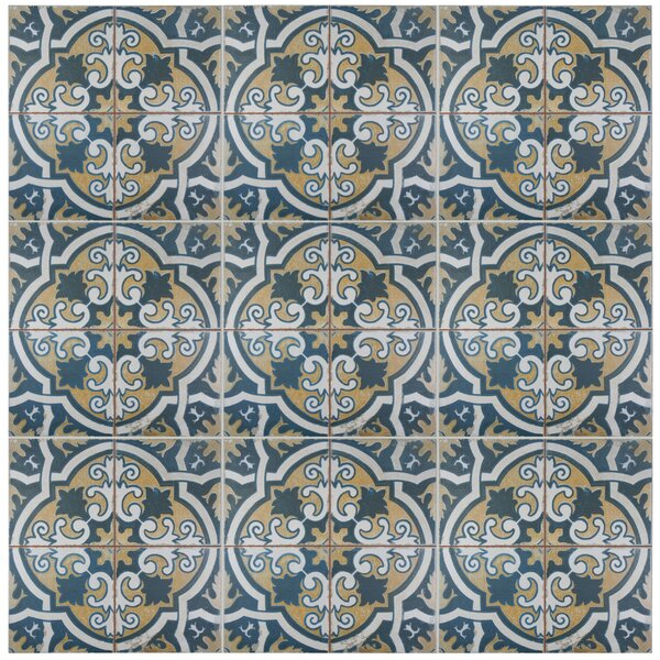 Royalty Canarsie 17.63 x 17.63 Ceramic Field Tile in Blue/Yellow by EliteTile