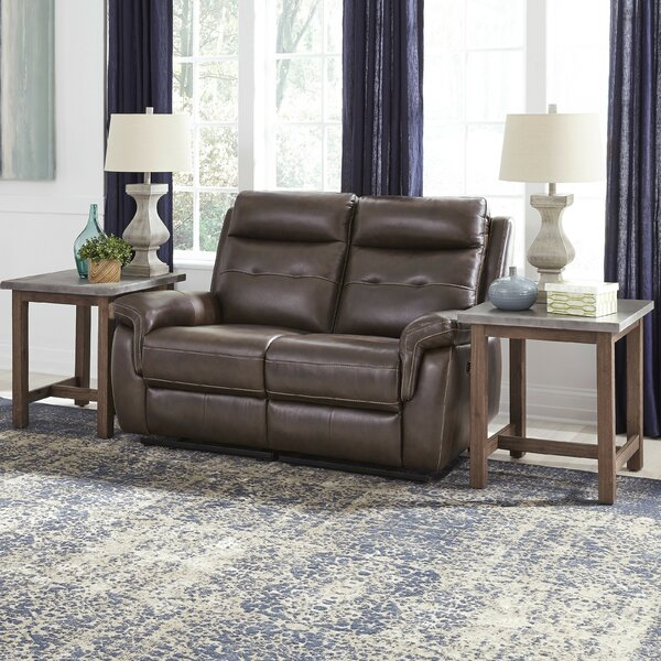 Online Buy Sasheer Leather Reclining Loveseat Remarkable Deal on