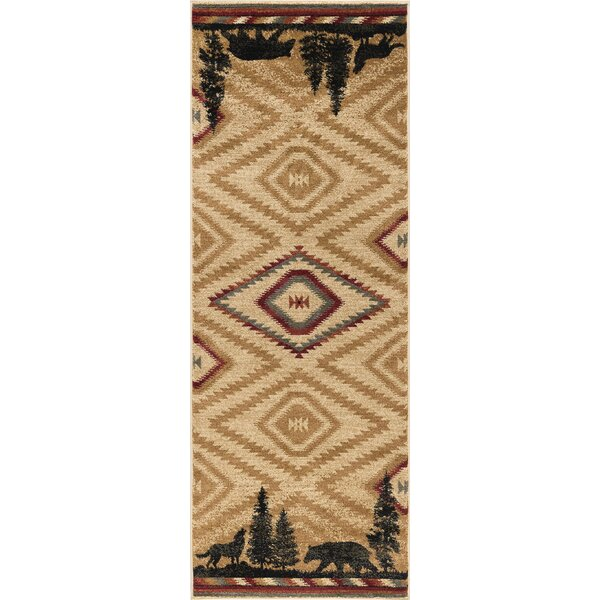 Villicana Colorblock Wildlife Novelty Lodge Ivory Area Rug by Millwood Pines