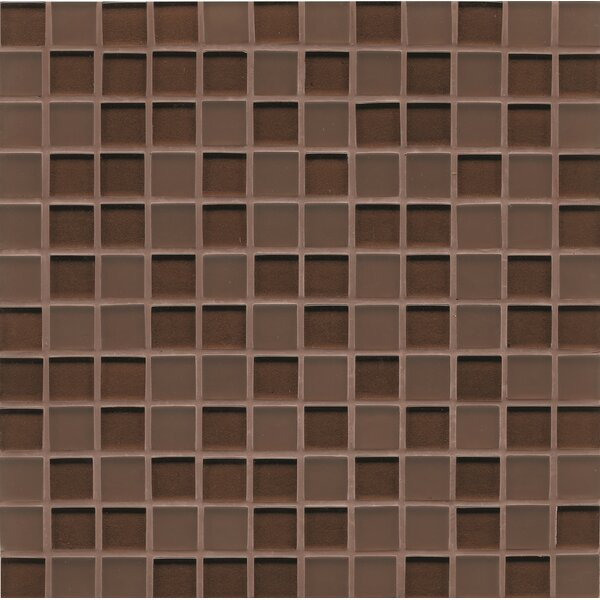 Remy Glass 12 x 12 Glass Mosaic 1x1 Mesh Mounted Tile in Bronze by Grayson Martin