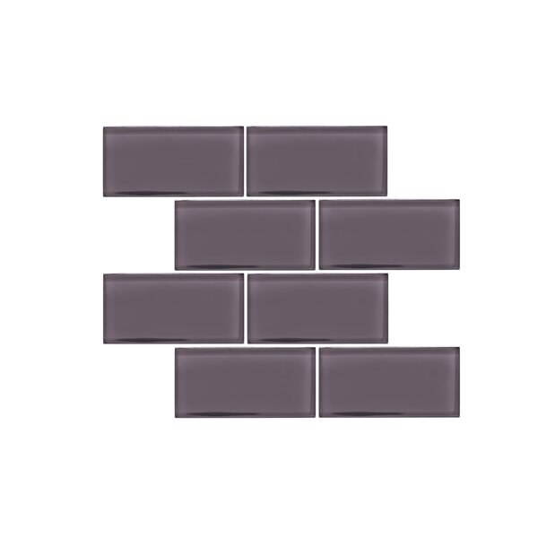 Valencia 3 X 6 Dark Grey Glass Subway Tile by Vetromani