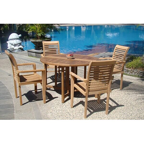 Hussey Luxurious 5 Piece Teak Dining Set by Rosecliff Heights