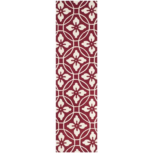 Waddington Hand-Hooked Red/Ivory Indoor/Outdoor Area Rug