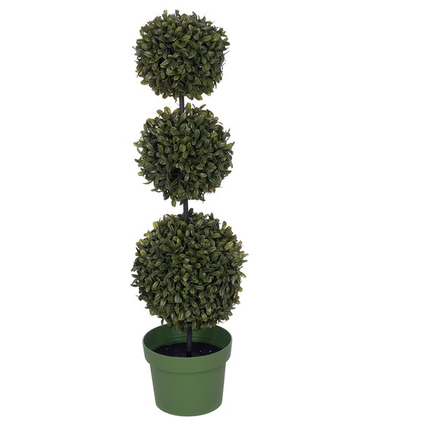 Artificial Triple Ball Desktop Boxwood Topiary in Pot by Charlton Home