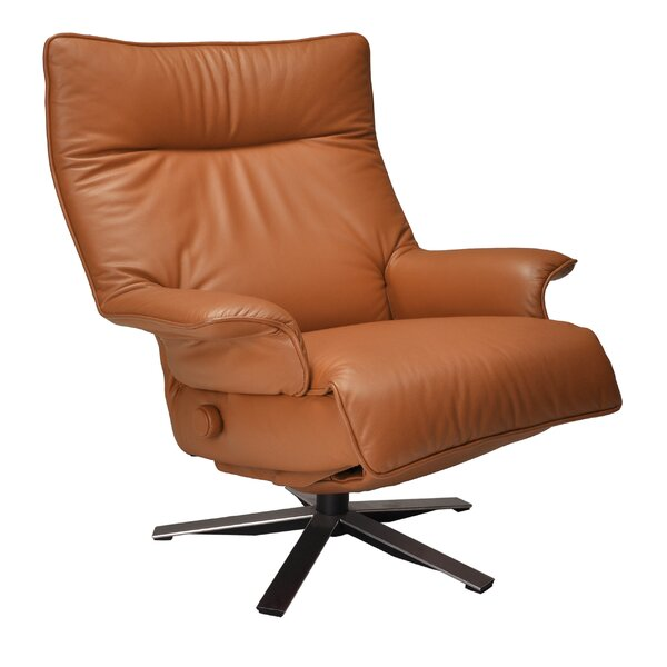 Valentina Leather Manual Swivel Recliner By Lafer