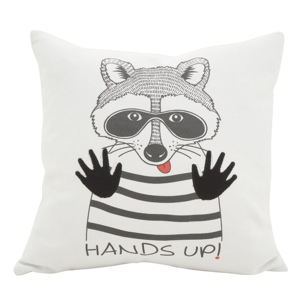 Hunley Raccoon Cotton Throw Pillow by Wrought Studio