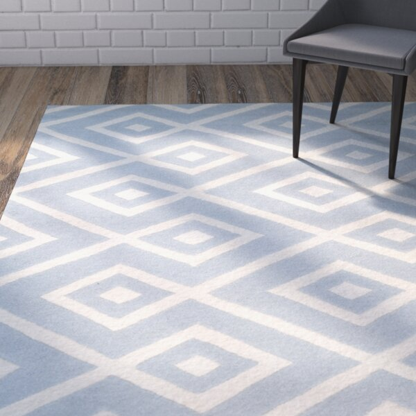 Wilkin Hand-Tufted Wool Blue/Ivory Area Rug by Wrought Studio