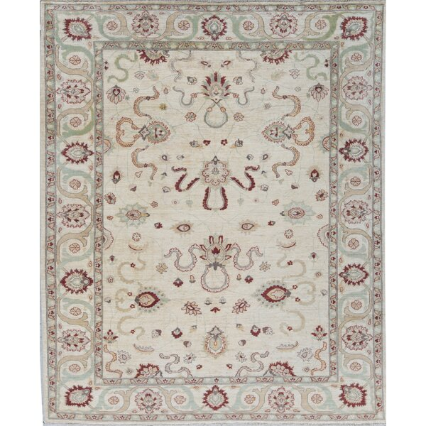 Zarbof Oriental Hand-Knotted Wool Ivory Area Rug