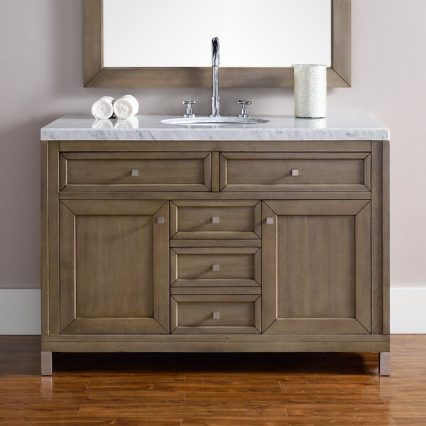 Valladares 48 Single White Washed Walnut Base Bathroom Vanity Set by Brayden Studio