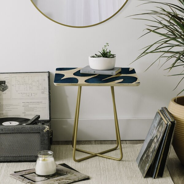 Elena Blanco Swirls End Table by East Urban Home