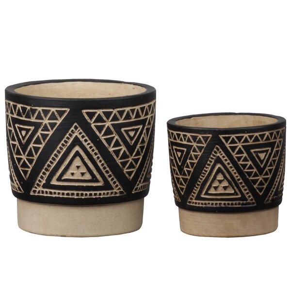 Canning Round 2 Piece Ceramic Pot Planter Set by Union Rustic